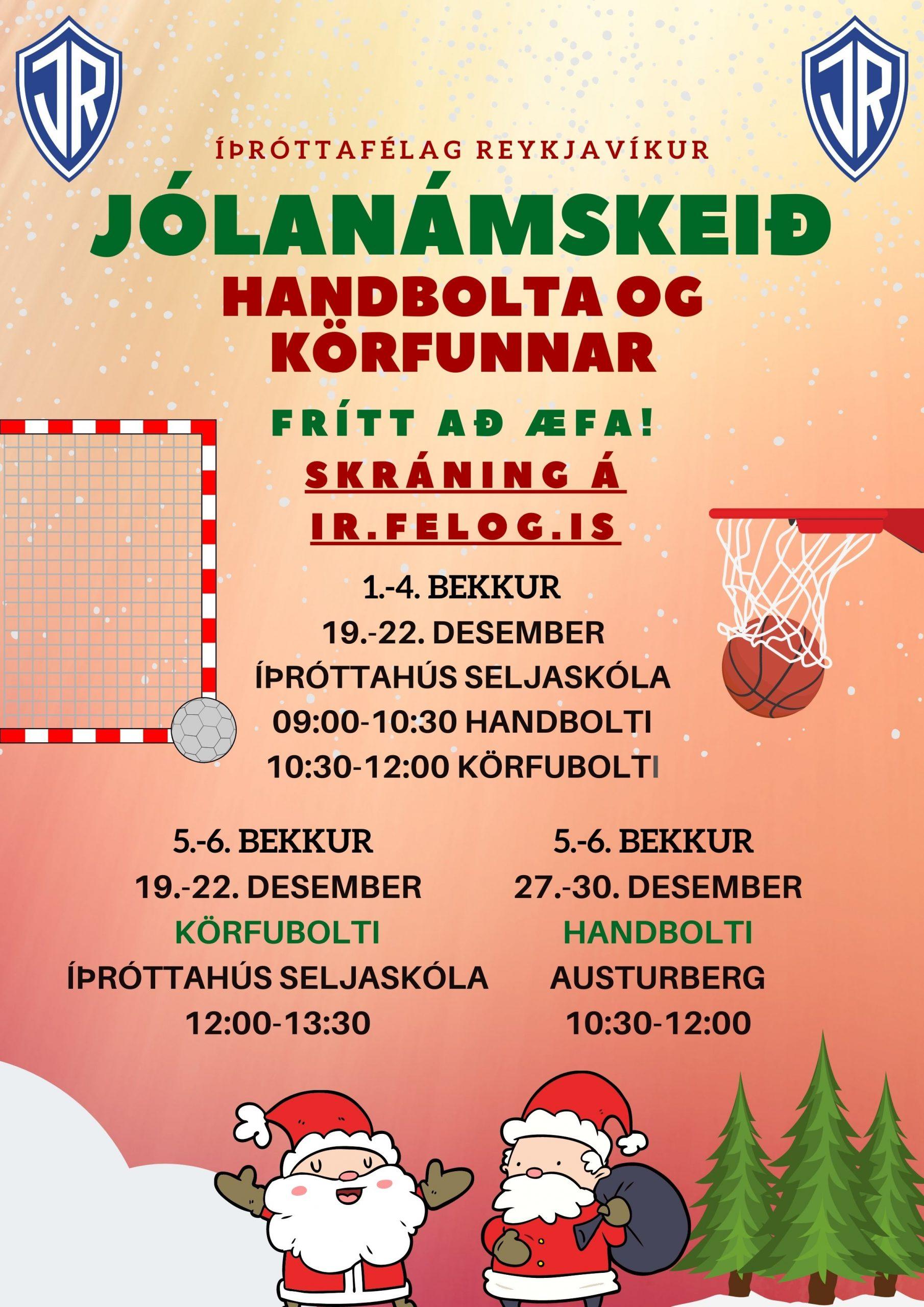 Jólanámskeið handknattleiks- og körfuknattleiksdeildar 19.-22. desember graphic
